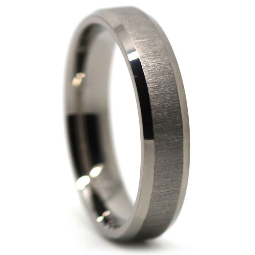 Titanium Thin Mens Wedding Ring Brushed Finish