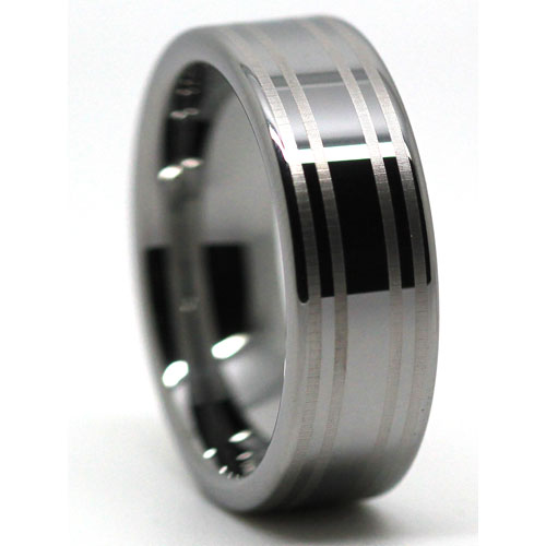 Wide Flat Polished Tungsten Ring with Dual Brushed Center Line Accents