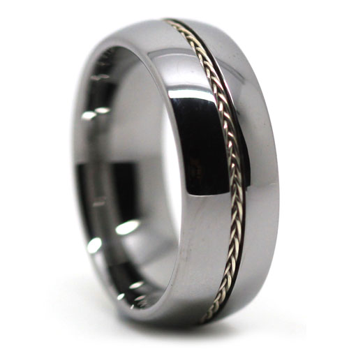 Mens Wedding Tungsten Ring with Plated Rope Inlay