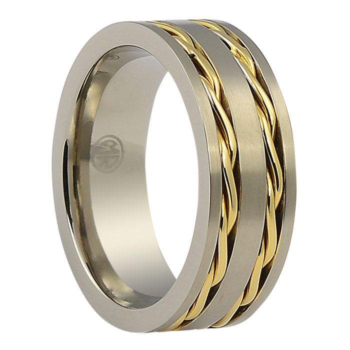 Titanium Wedding Rings.Wide Titanium Wedding Band With Gold Chain Inlay