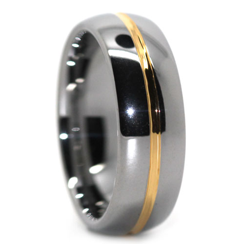 Tungsten Dome Ring with Gold