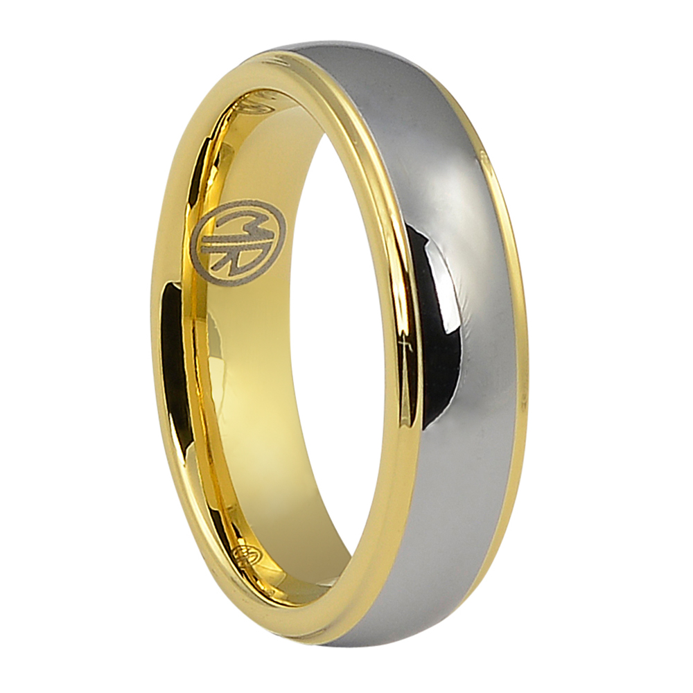 FTR-060-Polished Tungsten Ring with Gold Step Edge