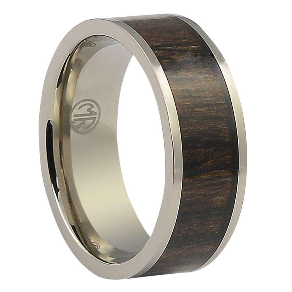 ITR-104-Titanium Mens Ring with Dark Hawaiian Koa Wood Centerpiece