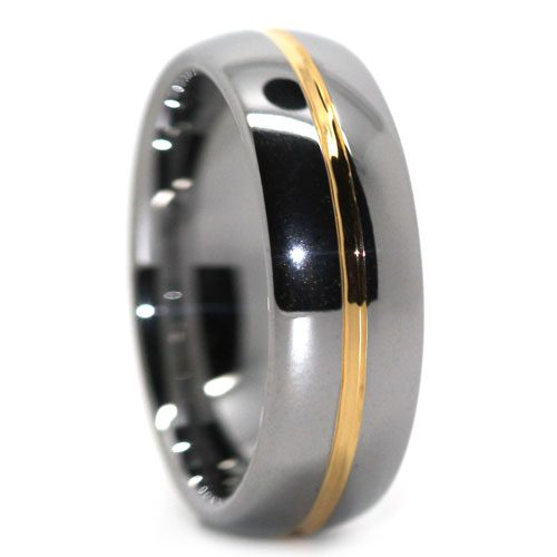 Polished Dome Tungsten Ring with Gold Center Line