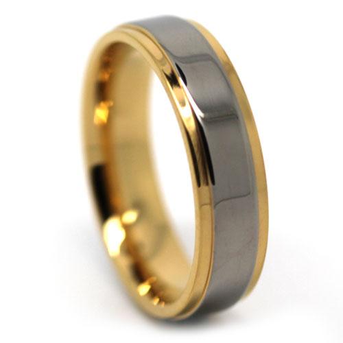 Mens Titanium and Gold Ring
