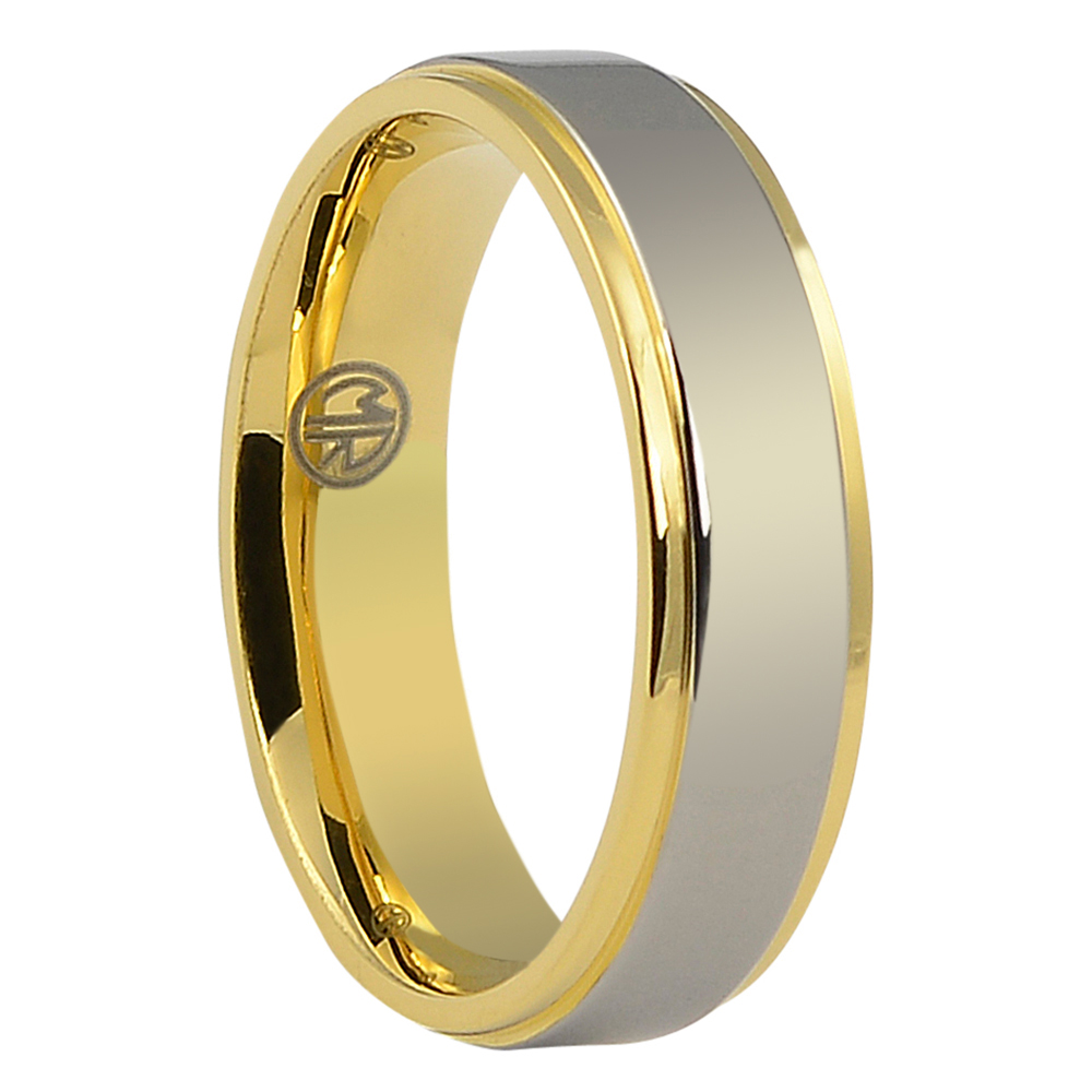 ITR-106-Polished Titanium Men's Ring with Gold Edge