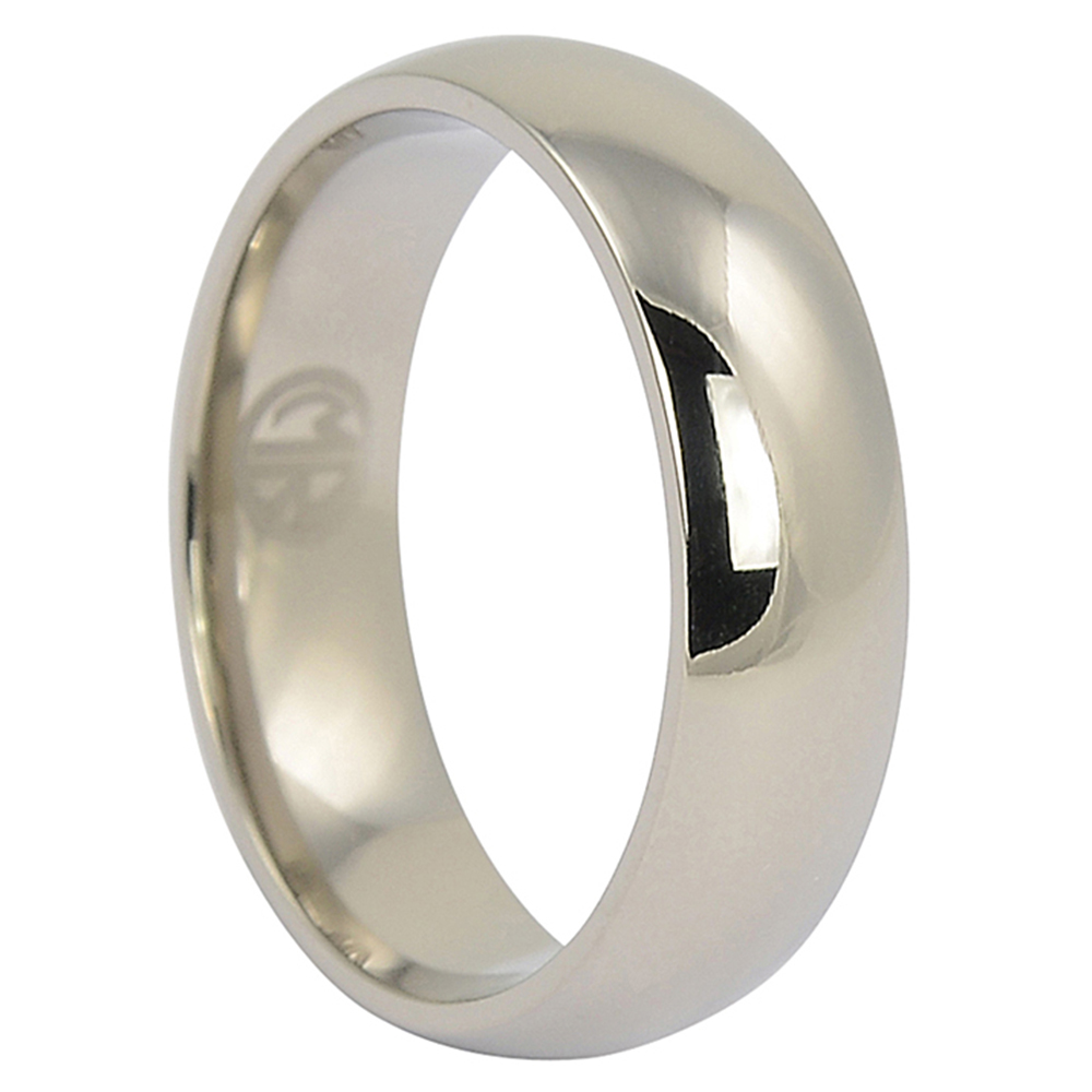 CPM-W18HRP5-15-5mm Half Round 18ct White Gold Polished Wedding Ring
