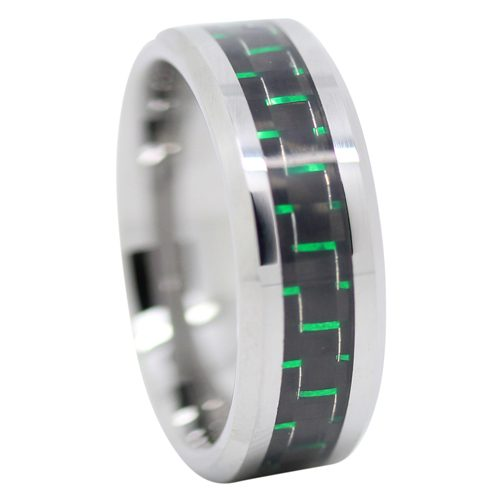 Green Carbon Fiber Mens Tungsten Ring