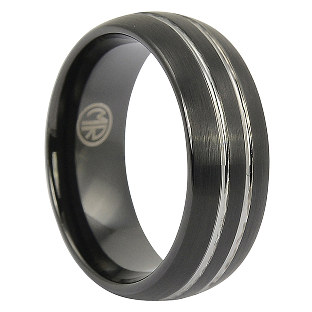 FTR-062-Black Brushed Tungsten Ring With Twin Grooves
