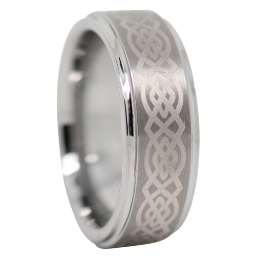 Celtic Tungsten Mens Wedding Ring