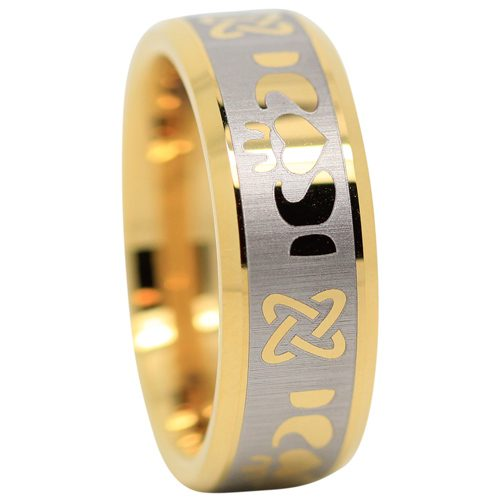 Gold Claddagh Tungsten Ring