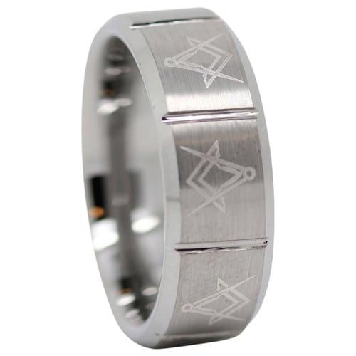 Satin Finish Freemason Masonic Tungsten Ring
