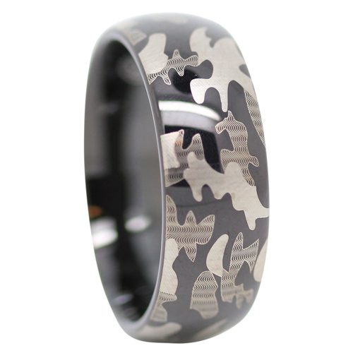 Black Camo Tungsten Ring