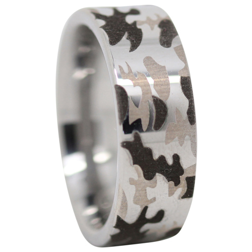 Camo Tungsten Mens Ring