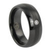 Black Tungsten Ring With Single Stone