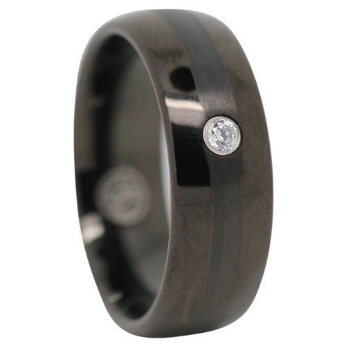 Black Tungsten Ring With Stone