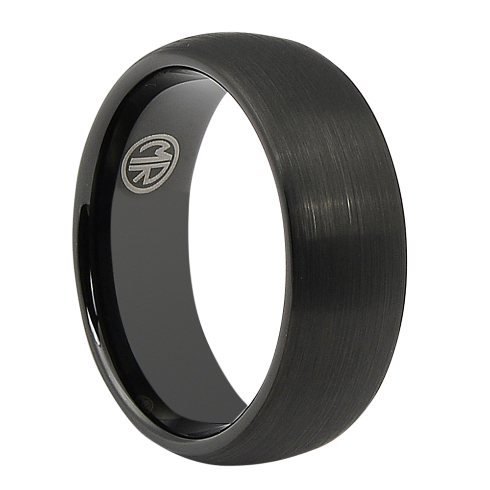 FTR-074-Black Tungsten Ring With Brushed Finish