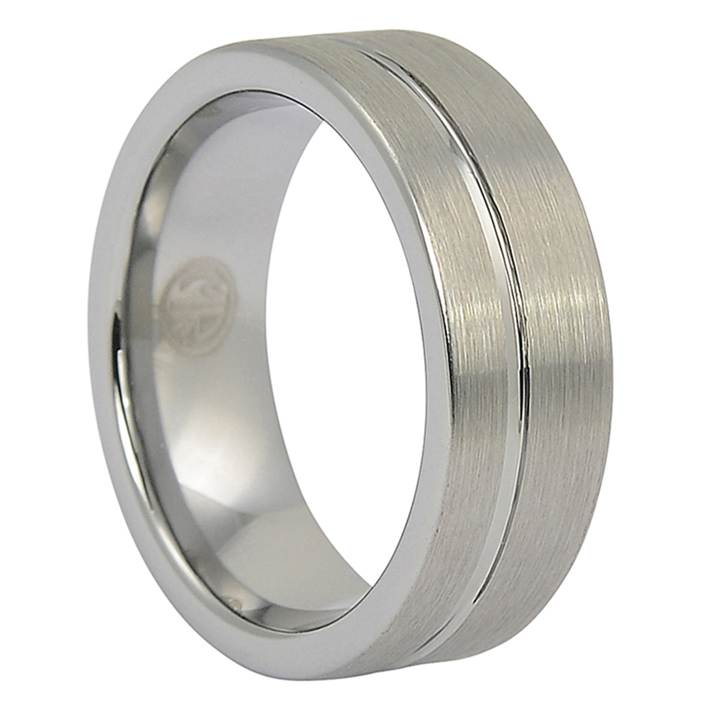 FTR-076-Brushed Tungsten Mens Ring With Offset Groove