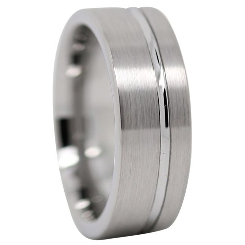 Groove Tungsten Mens Wedding Ring
