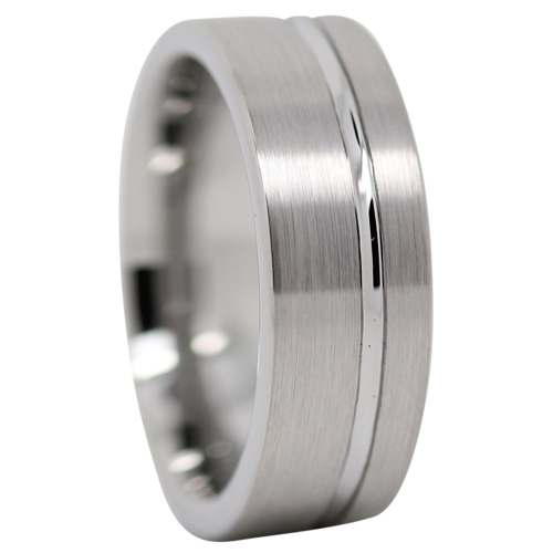 Brushed Tungsten Mens Ring With Offset Groove