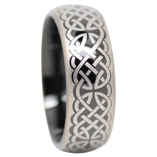 Black Celtic Mens Tungsten Ring