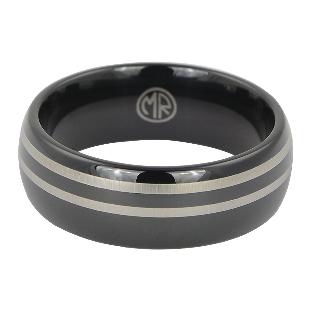 Black Tungsten Mens Ring With Twin Offset Stripes