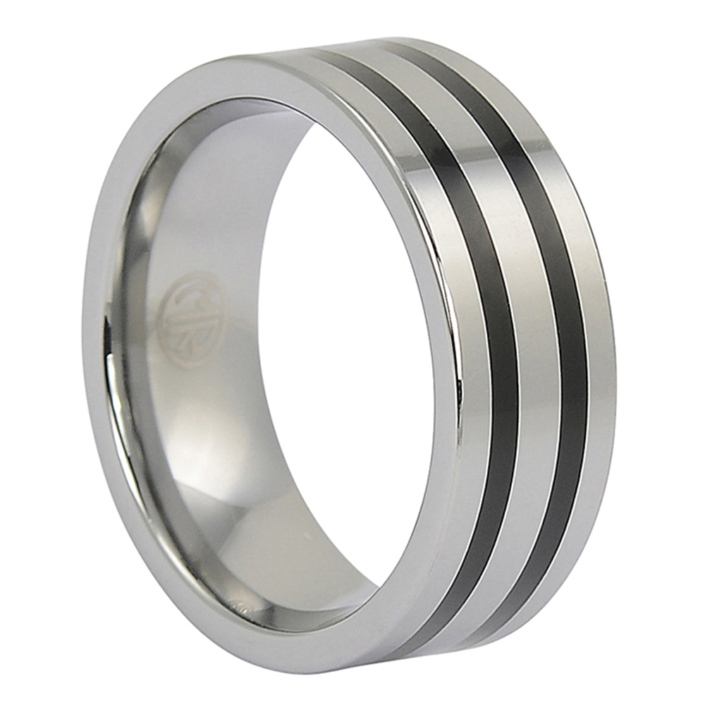 FTR-082-Polished Tungsten Ring With Twin Black Stripes