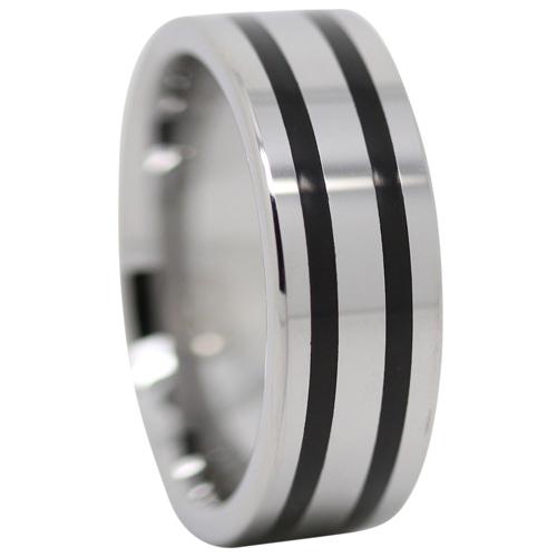 Black Stripe Tungsten Ring