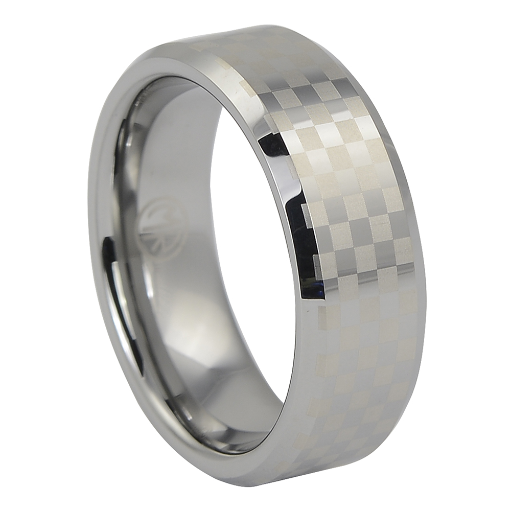 Mens Chequered Tungsten Ring