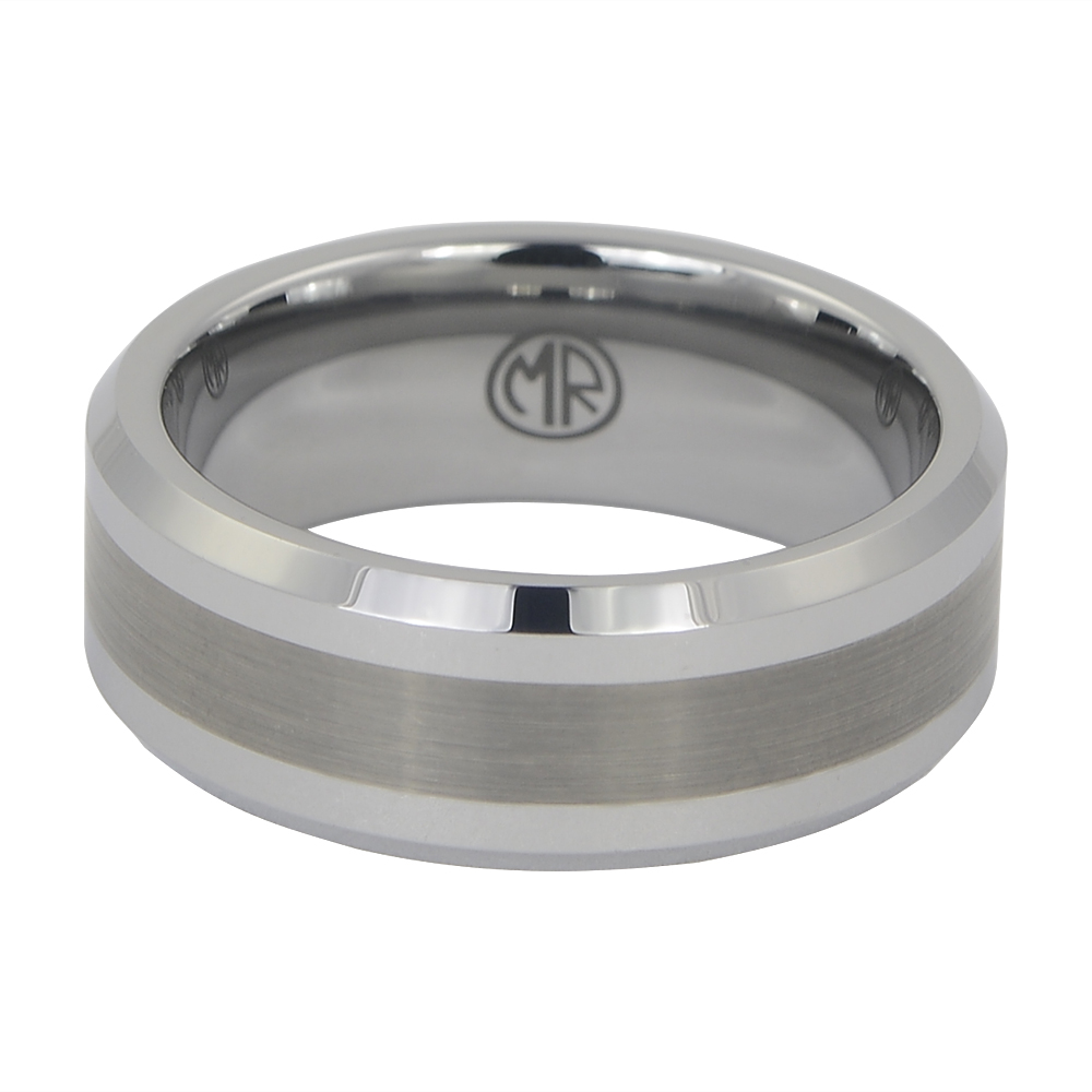 Mens Tungsten Wedding Ring With Brushed Centreline