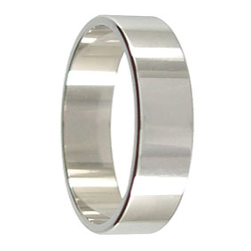 6mm Flat Platinum Mens Ring