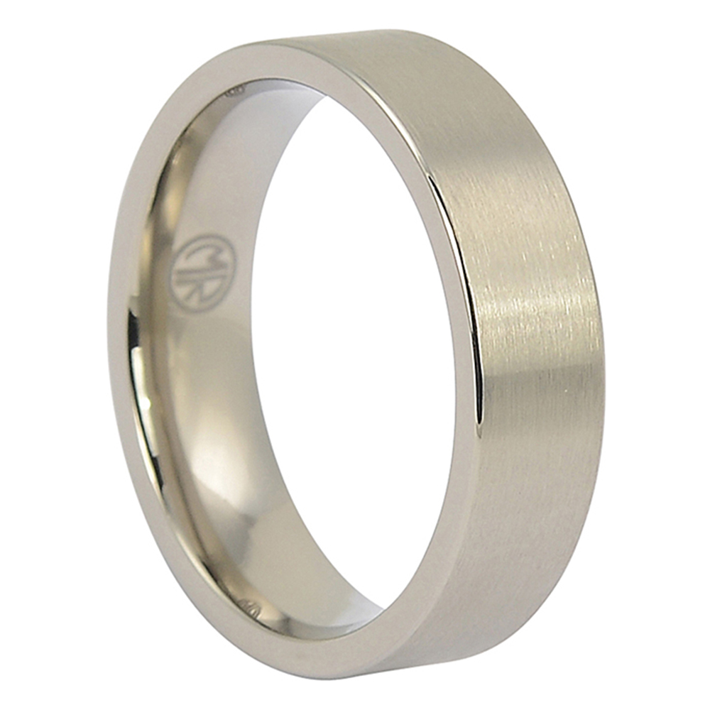 CTIBF6-Custom Made 6mm Brushed Flat Titanium Mens Wedding Ring