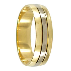 6Mm Mens Wedding Band | 6mm 2 Tone 9ct Gold Twin Groove Mens Wedding Ring