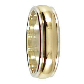 6mm 2 Tone 9ct Gold Twin Groove Mens Wedding Ring