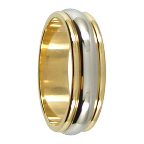 Yellow White Gold Mens Ring