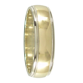 White And Yellow Gold Mens Ring