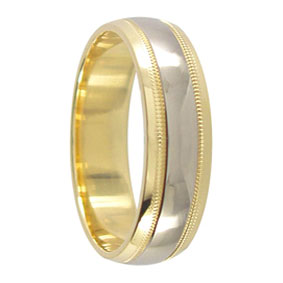 Two Tone Gold Mens Wedding Ring
