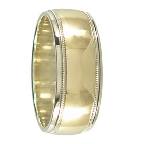 2 Tone Gold Milgrain Mens Ring