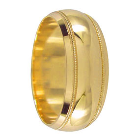 8mm Wide Gold Mens Wedding Ring
