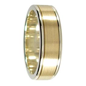 6mm 9ct 2 Tone Gold Mens Wedding Ring