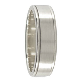 Mens Wedding Band.6mm 9ct White Gold Mens Wedding Band