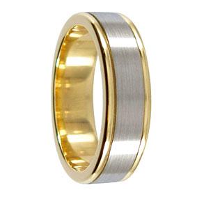 6mm 9ct 2 Tone Gold Mens Wedding Band