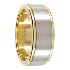 8mm 9ct 2Tone Gold Mens Wedding Ring