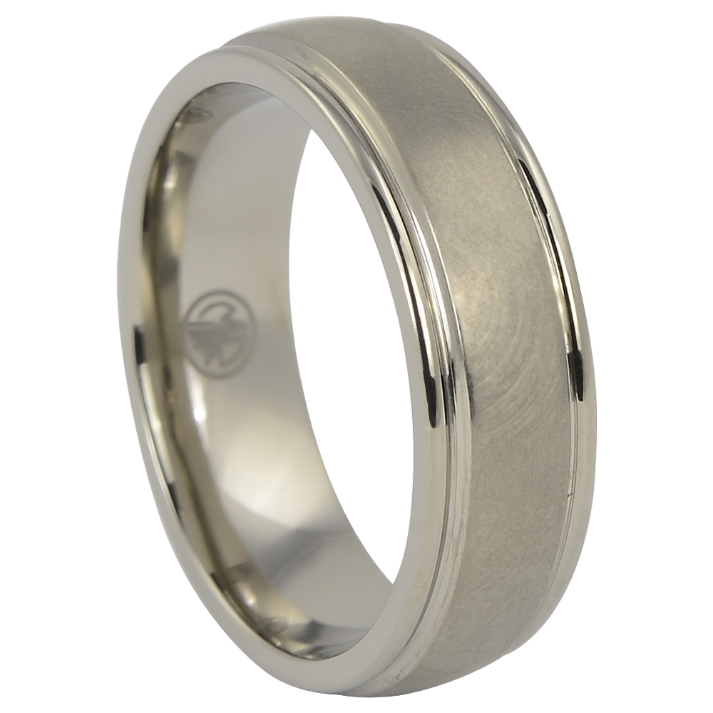 """Rounded """"Comet"""" Titanium Mens Ring With Polished Edges"""