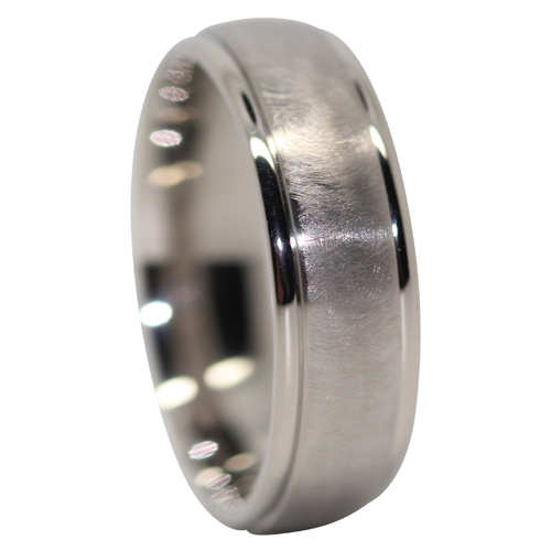 Rounded Comet Titanium Mens Ring