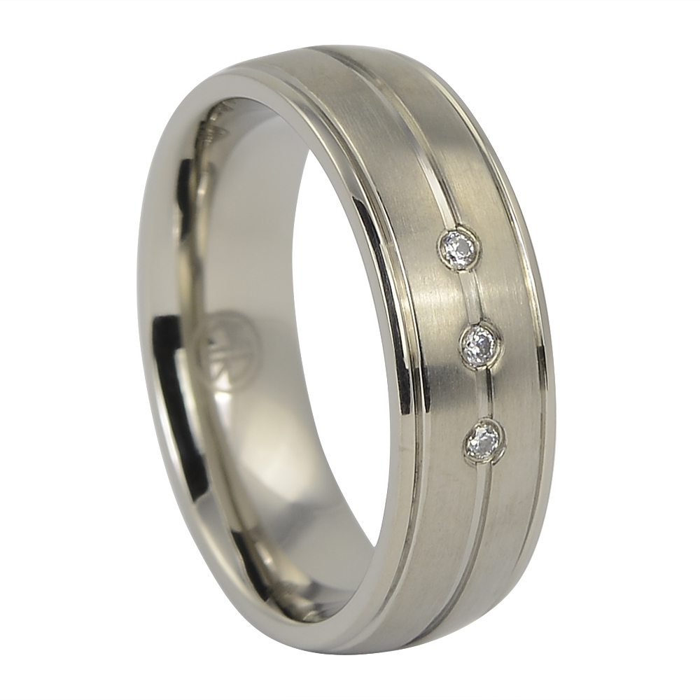 Titanium Mens Engagement Ring With Triple Stones