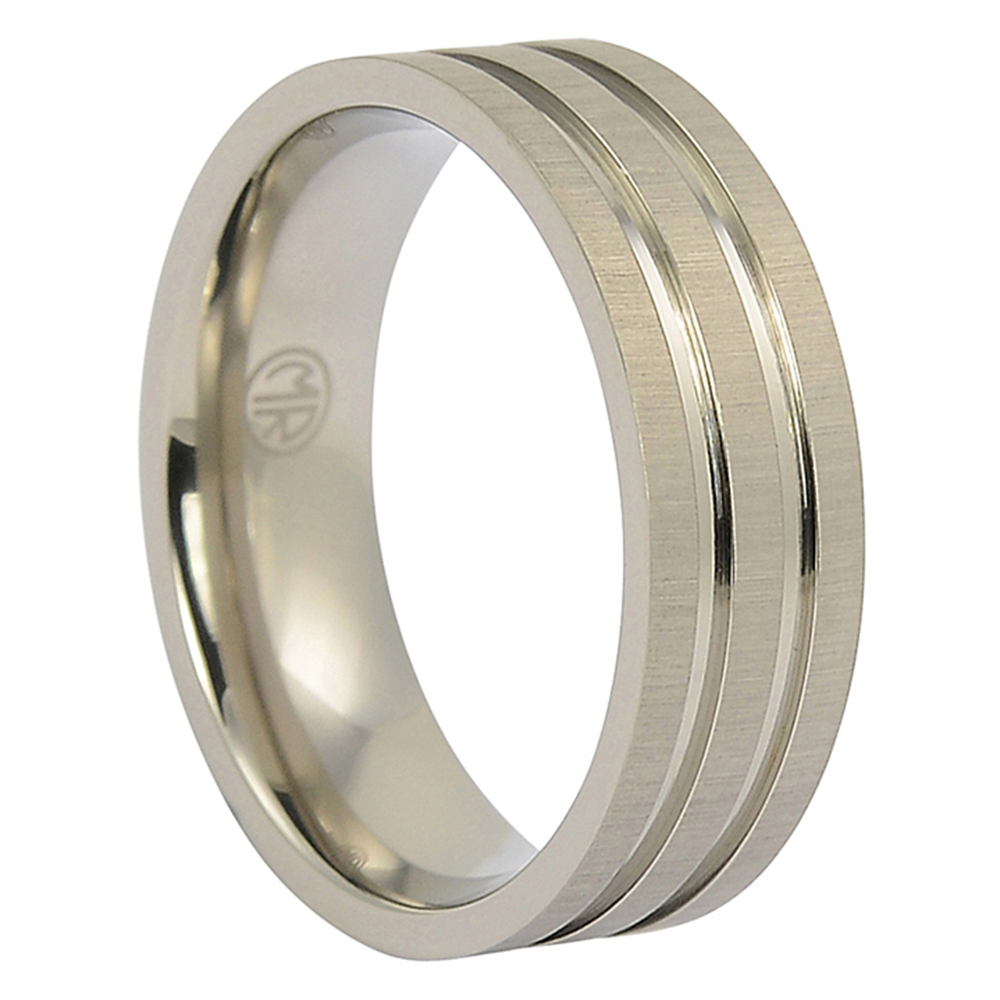 ITR-118-Brushed Titanium Mens Ring With Twin Grooves