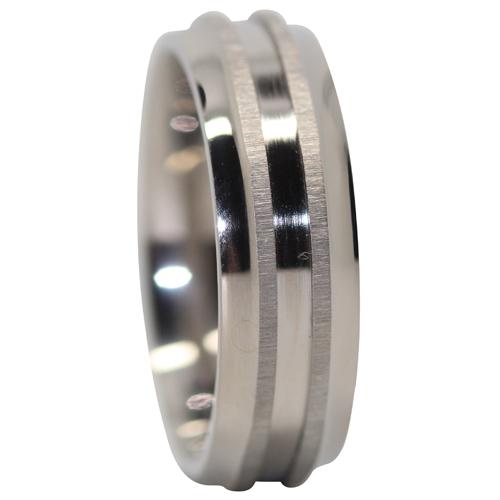Titanium Mnes Ring With Raised Twin Centerlines