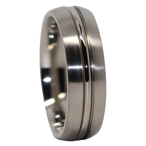 Satin Finish Titanium Wedding Ring With Polished Centerline