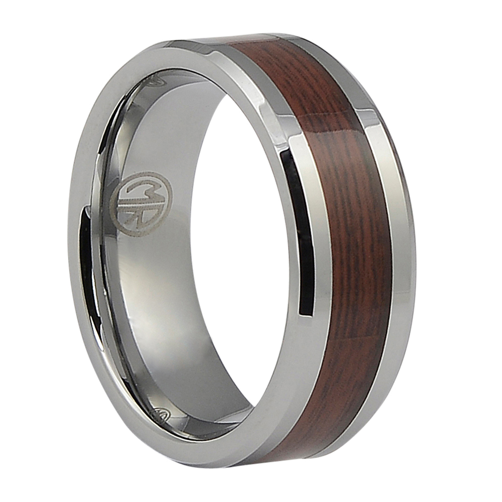 FTR-094-Dark Koa Wood Tungsten Mens Ring